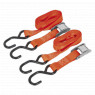 Image for Cam Buckle Tie Down 25mm x 2.5mtr Polyester Webbing with S Hooks 500kg Load Test