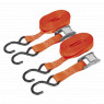 Image for Cam Buckle Tie Down 25mm x 5mtr Polyester Webbing with S Hooks 250kg Load Test